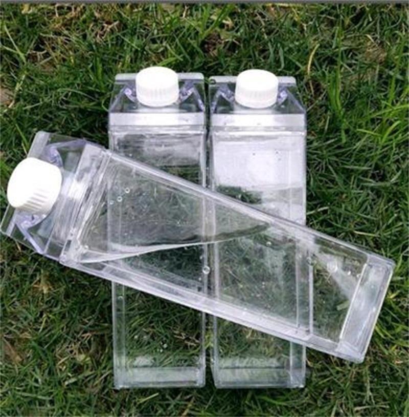 Botella de agua de cartón de leche 500 ml Transparente cuadrado de alta capacidad de taza de café de plástico Taza de bebida de café original 5 8js F2