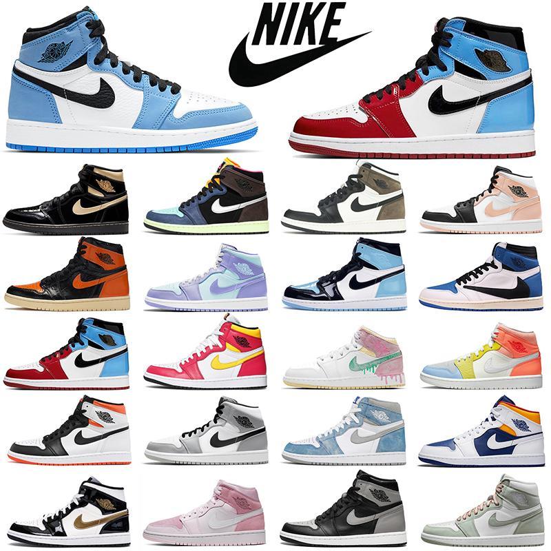 Мода скидка ретро воздух jordan 1s мужские баскетбольные туфли aj1 jumpman 1 разведенные ноги chicago запрещенные тень женщины мужские тренеры спортивные кроссовки