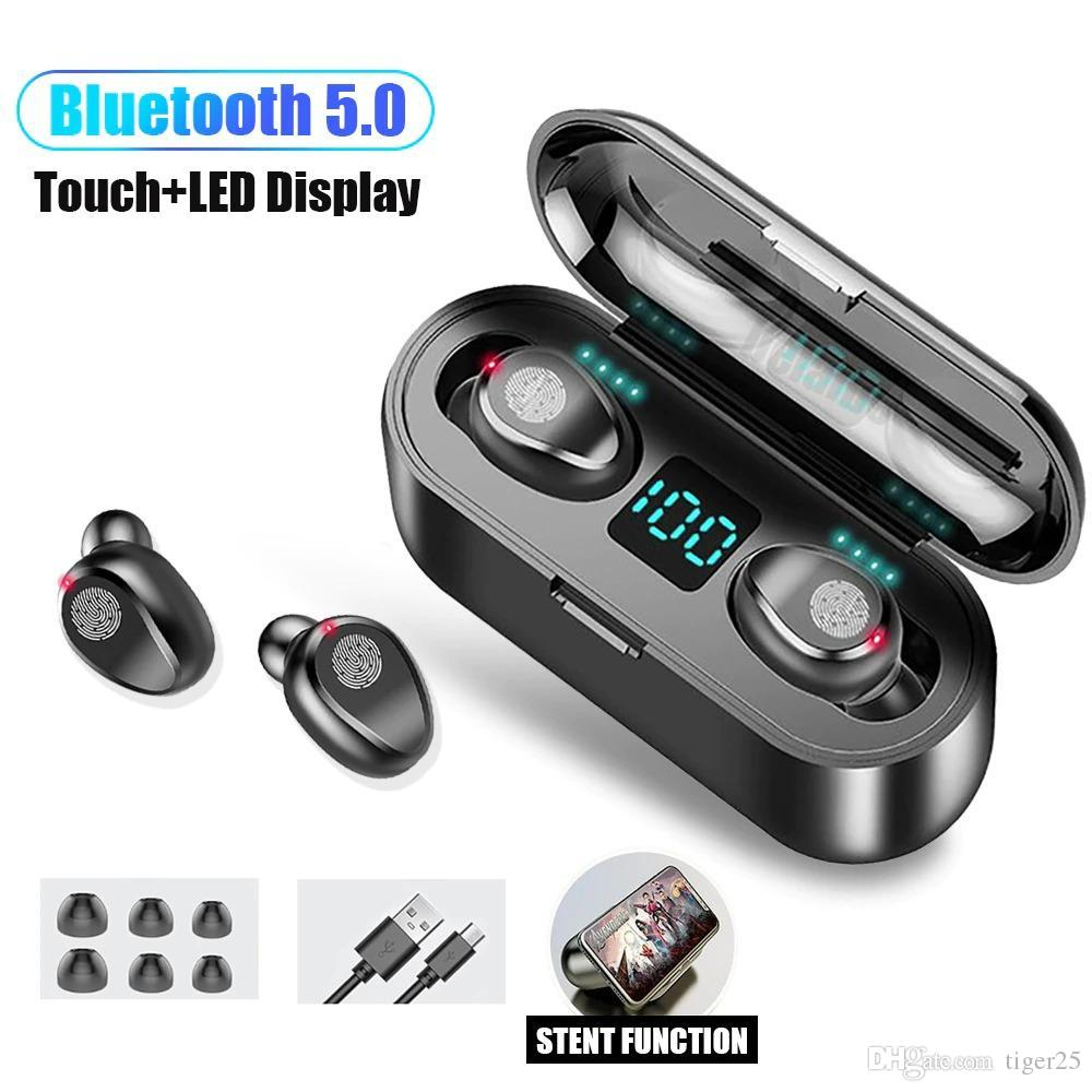 F9 TWS Fone de Ouvido Sem Fio Bluetooth V5.0 Earbuds Display LED com 2000mAh Power Bank Headset Microfone MQ01