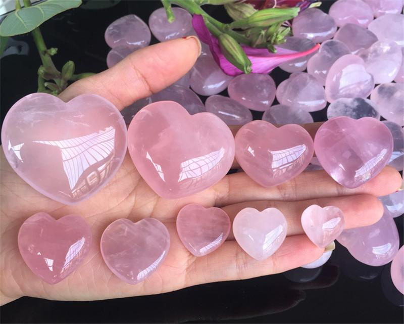 Natural Rose Quartz Heart Shaped Pink Crystal Carved Love Healing Gemstone Lover Gife Quartz Specimens Home Decoration
