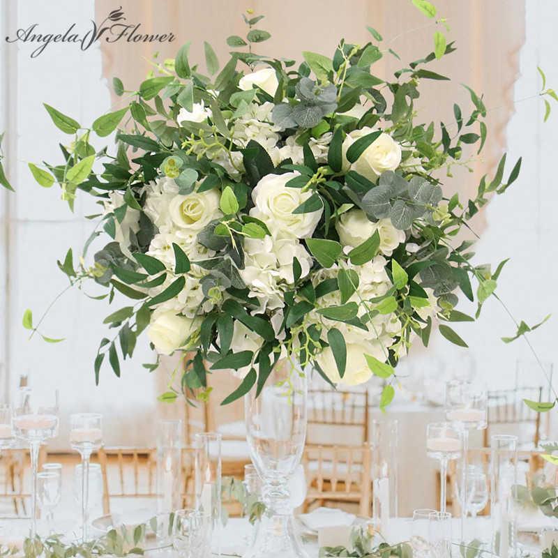 맞춤형 인공 꽃 공 녹색 식물 웨딩 테이블 센터 피스 장식 연회 호텔 파티 저녁 식사 부케