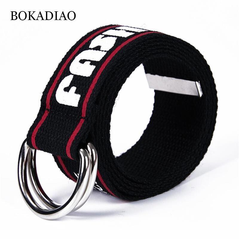 Cinture Bokadiao Men Chinds Belt di lusso Doppio anello in metallo fibbia in vita jeans per donna esercito tattico cinturino maschio