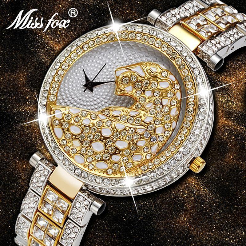 Wristwatches MISSFOX Watch Women 2021 Luxury Leopard 3D Party Dress Watches Three Hand Quartz Movement With Diamond Wristwatch