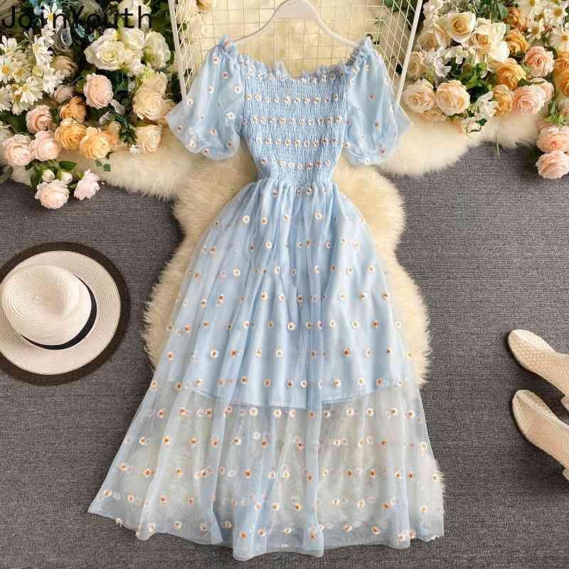Únete Vestido de Mujeres Bordado Moda Bordado Floral Robe NUEVO Ropa Coreal Puff Manga Slash Cuello Vestidos Vestidos Gauze Patchwork Vestidos 210423