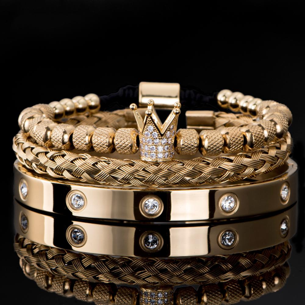 3 unids / set Luxury Micro Pave Cz Crown Roman Royal Charm Hombres pulseras Pulseras de acero inoxidable Cristales de acero Brazaletes Pares A Hecho A Mano Joyería Regalo