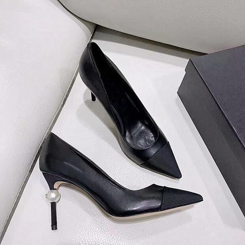 Elbise Ayakkabıları 2021 Yüksek topuklu Sandalet Kadın High-end Marka Tasarım Sivri İnci + Ayakkabı Kutusu