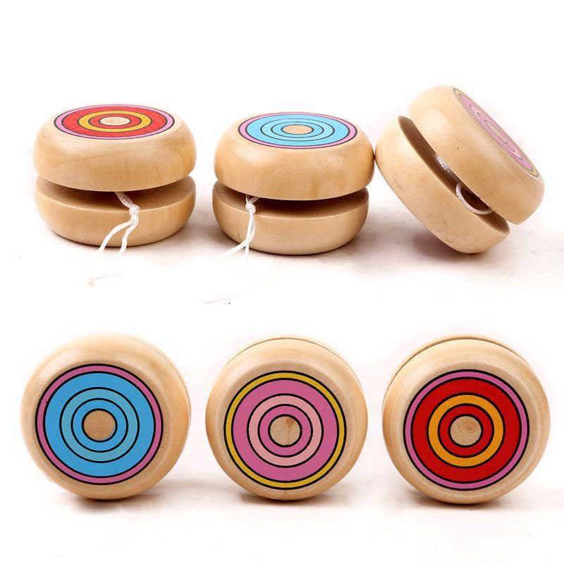 مزيج اللون بالجملة 100 قطع الاطفال ماجيك يويو سلسلة جولة الكرة تدور ألعاب خشبية المهنية للأطفال