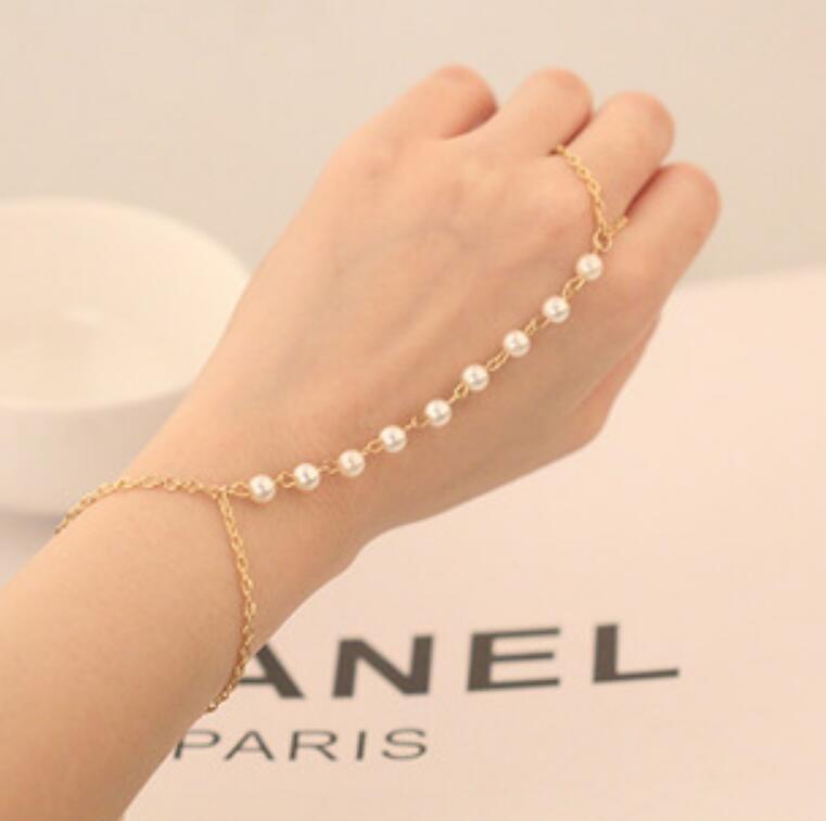 Pulsera de perlas Pulsera enlace Pulsera Anillo de dedo Hipster Cadena Bohemia Beads Perral Pulsera con cuentas y anillo