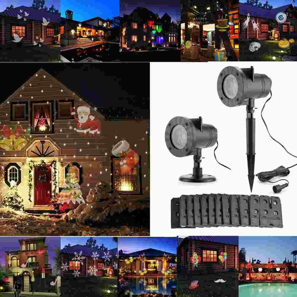 Noel Lazer Yıldız Işık RGB Duş LED Gadget Hareket Sahne Projektör Lambaları Açık Bahçe Çim Peyzaj 2 in 1 Hareketli Tam Gökyüzü Lambası