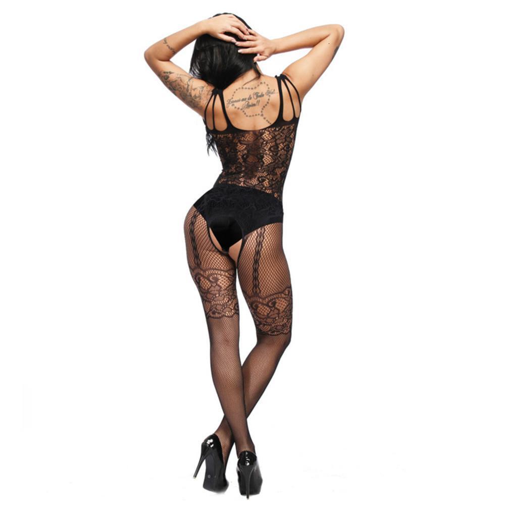 Sexy Skinny Fishnet Lingerie Underwear Jacquard Ver Throug Open Crotch Pajamas Jumpsuits Sleepwear Mulheres Malha Meias Moda Roupas Presente