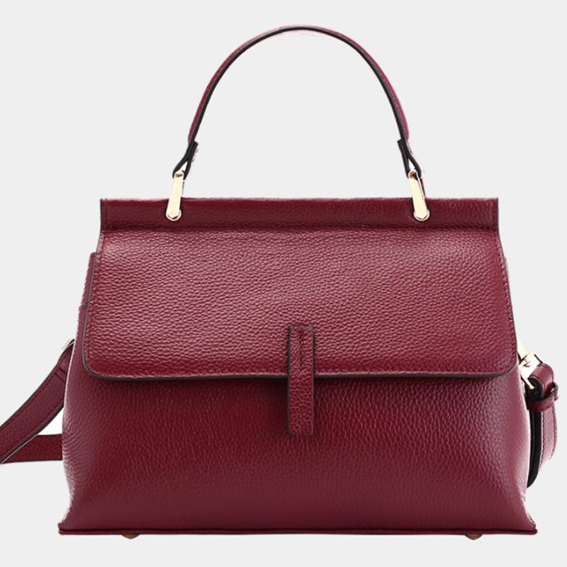 NEW Genuine Leather Handbags Women Real Cow Top Layer Leather Tote Bag Designer Shoulder Message Work Top Handle Bag C0326