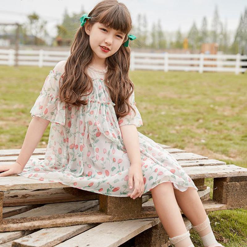 Vestidos de niña Vestido de luz de verano para niñas Moda Floral Estampado de malla Hemblón suelto Vestidos para niños Vacaciones de vacaciones Casual Ropa infantil