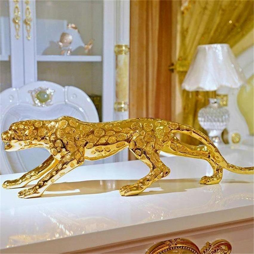 Abstract Gold Panther Sculpture Resina Geométrica Leopardo Estátua Vida Selvagem Decor Presente Artesanato Artesanato Acessórios Furnishing 2021