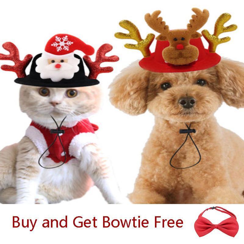 Elk Antler Santa Cluas Headdress Halloween/Christmas Small/Large Pet Dogs Cats Hats Funny Headwears Supplies BS005 Cat Costumes