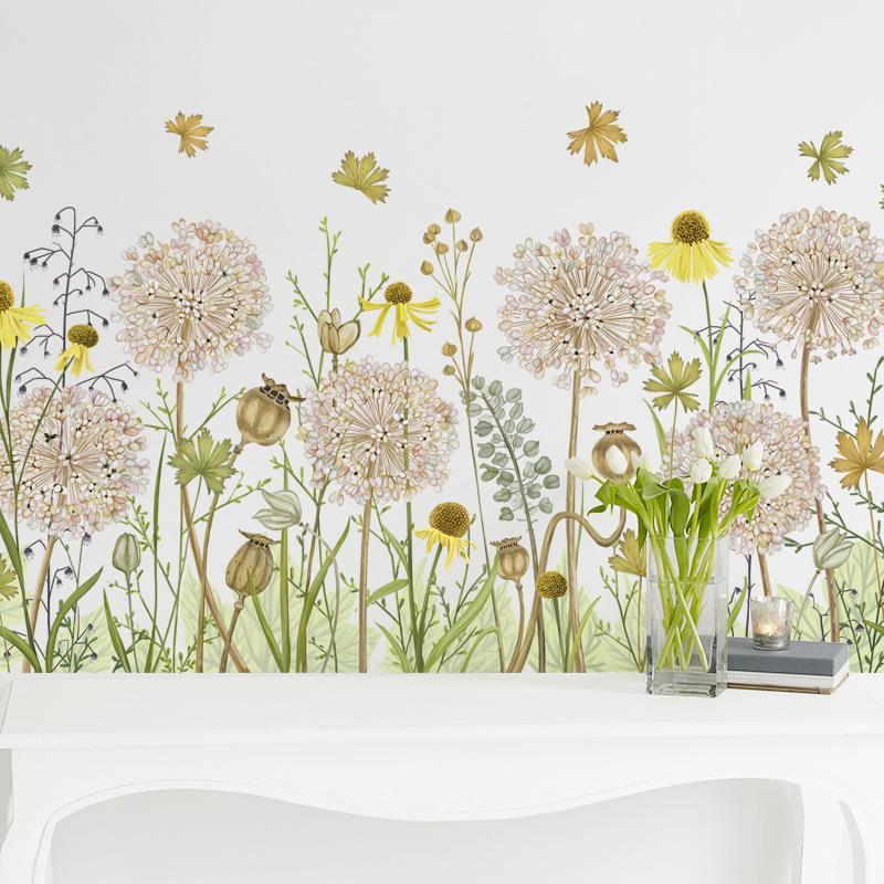 Décor dessin animé autocollant bricolage dandelion fleurs décalques pour enfants chambre bébé pépinière salon chambre décoration