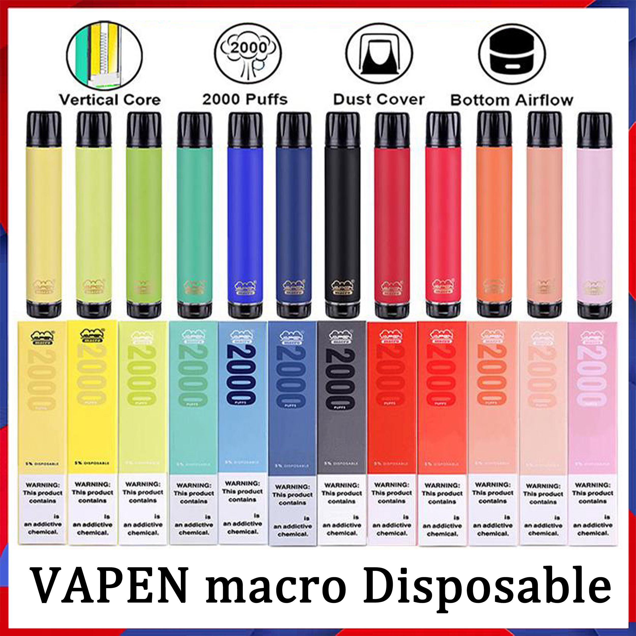 원래 Vapen 매크로 2000 퍼프 일회용 담배 vape 펜 수직 코일 플러스 XXL Xtra Extra Max Flex Vaporizer 미리 채워진 막대기 E Cigs Vaporizer