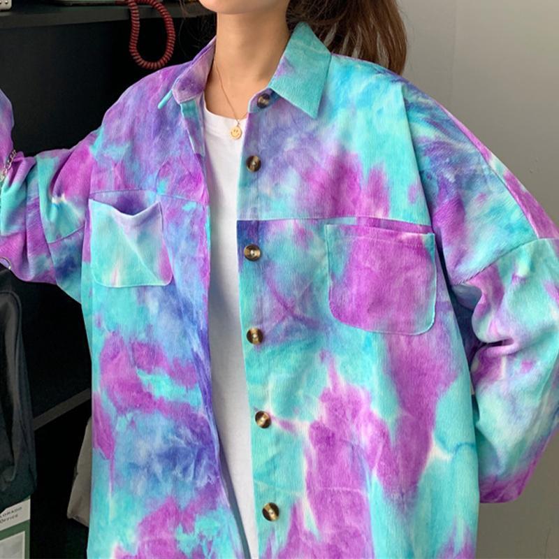 Осенние женщины винтажные галстуки-краситель вельвероя рубашка рубашка Batwing рукав кнопка из кармана блузка весна короткое снаряжение