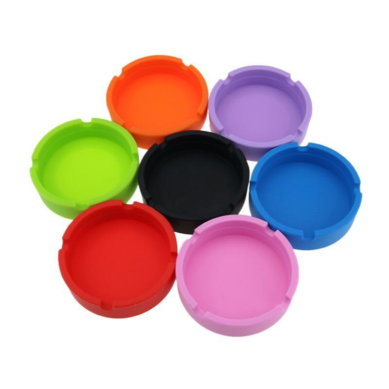 DHL Silicone Ashtrays Pure Colors Luminous Camouflage OEM Custom Logo Food-Grade Rubber Dry Herb Tobacco Ash Holder Circle Round Home Smoking Cigarette Case