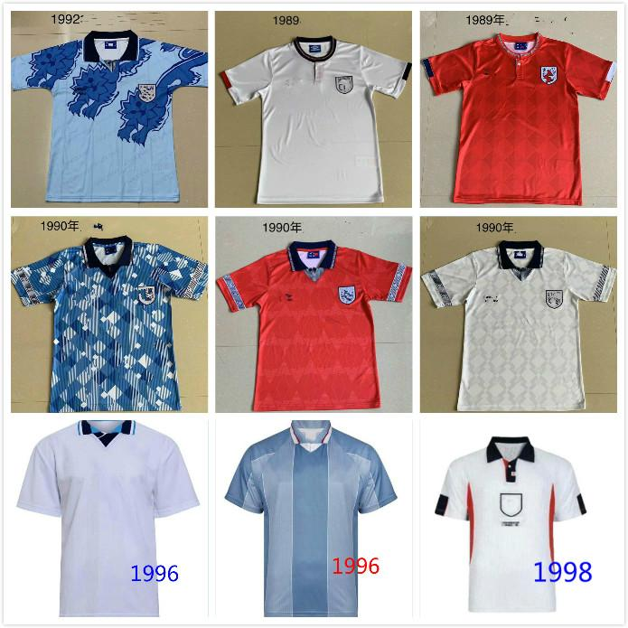 Ретро футбольные трикотажки 980 89 1990 91 92 93 96 98 2002Keegan Southgate Beckham Gascoigne Owen Gerrard Barnes Fowler Heskey футболка