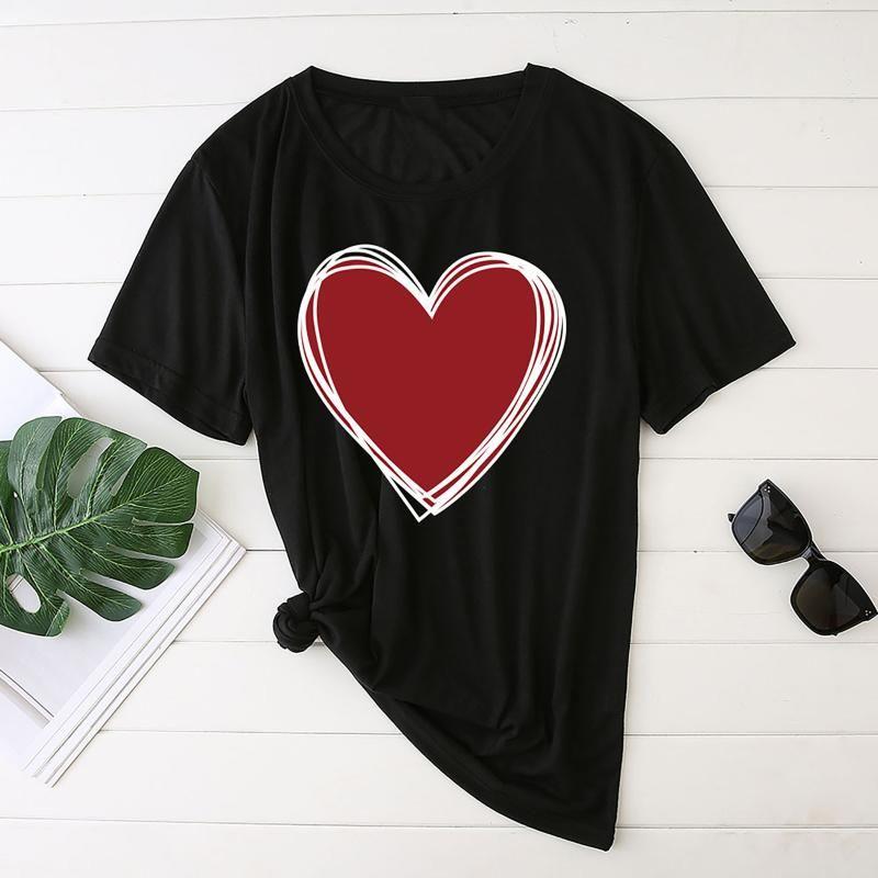 Ästhetische Frau T-shirts Womens Liebe Herz Drucken Kurzarm Rundhals Damen Tops T-Shirt Mujer Camisetas Femme T-shirts Frauen