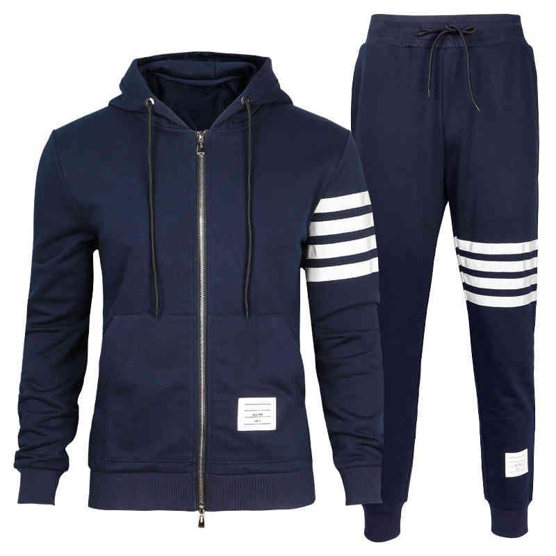 2021 Zipper à glissière pour hommes Sweats Casual Set Homme Tracksuits avec Mercerized Coton Matériel Thom Vêtements Mâle Mâle Grand taille 110kg