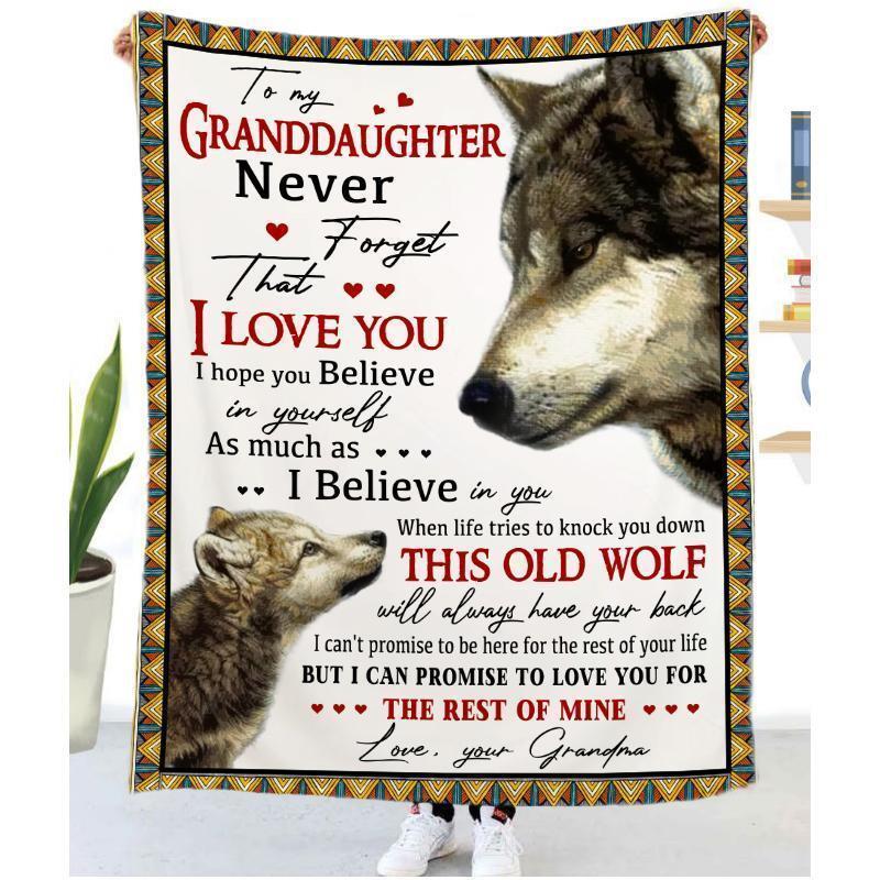 Wolf Flannel encourage la couverture d'amour à la motif cadeau Dad / Maman / Fille / Son Couverture de couverture Lettre de la lettre Festival Lettre Anniversaire HHVNJ GTIA