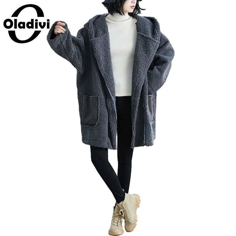 Oladivi Bearibed Plus Размер Женская Одежда Одежда ЛАМБСВАВОВОЙ Бархатный Пальто Мода Дамы Осень Зима Новый Теплый Повседневная Верхняя одежда 7xL 5XL