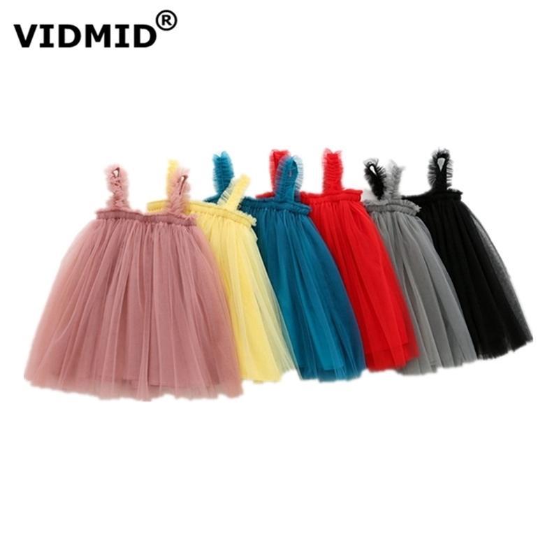 Vidmid Bebê Meninas Vest Vestidos de Algodão Marca Verão Meninas Lace Dress Kids Girls Roupas Infantil Vestuário sem mangas 7065 01 210319