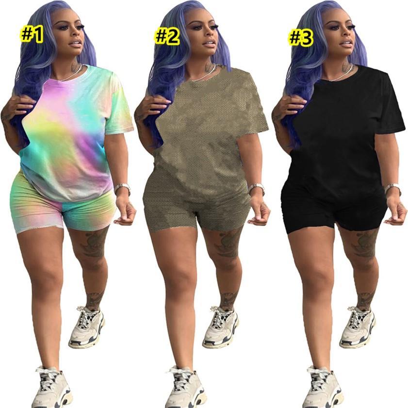 T-shirt da estate + pantaloncini Donne Tracksuits Casual Abiti casual Plus Size 2XL Sweatsuits 2 pezzi Set da jogger Abiti da jogger Abiti sportivi a manica corta Vestiti da palestra con logo DHL 4718