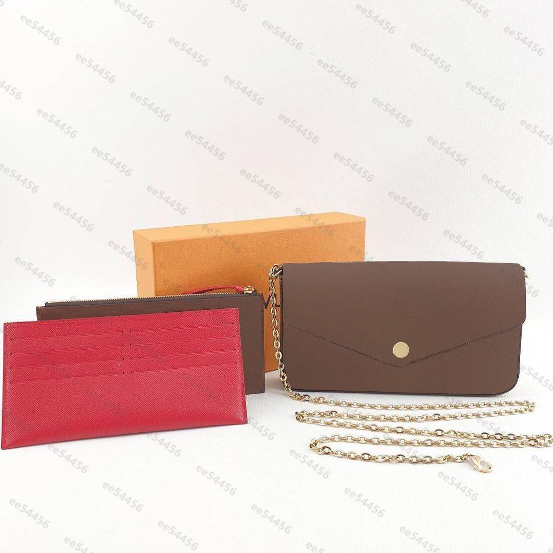 Top Quality Saco de Ombro Marca Luxo Designer Mulheres Originais Moda Chain Tote Bolsas Crossbody Bags 3 Piece Bolsa Pochette Felicie Handbags Carteira bolsas