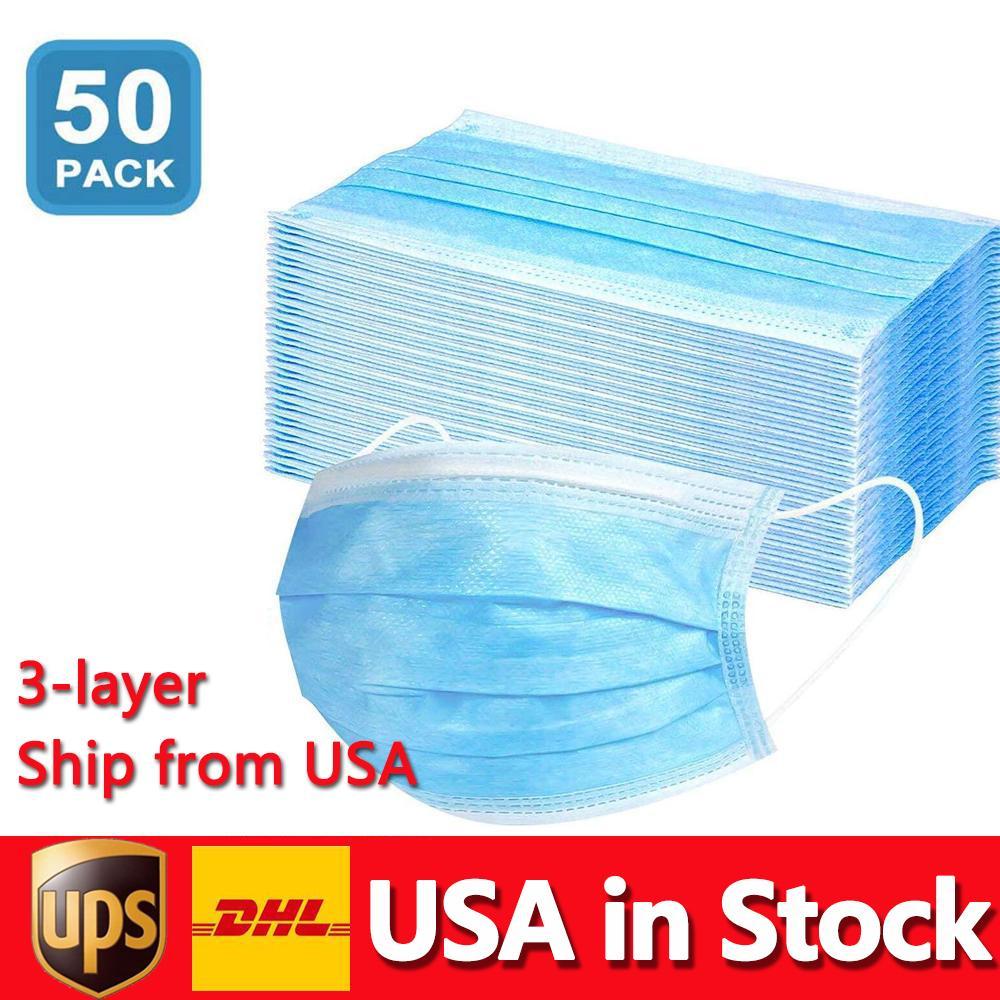 미국 일회용 마스크 50pcs 보호 및 개인 3 층 페이셜 커버 earloop 입 얼굴 위생 건강 가면