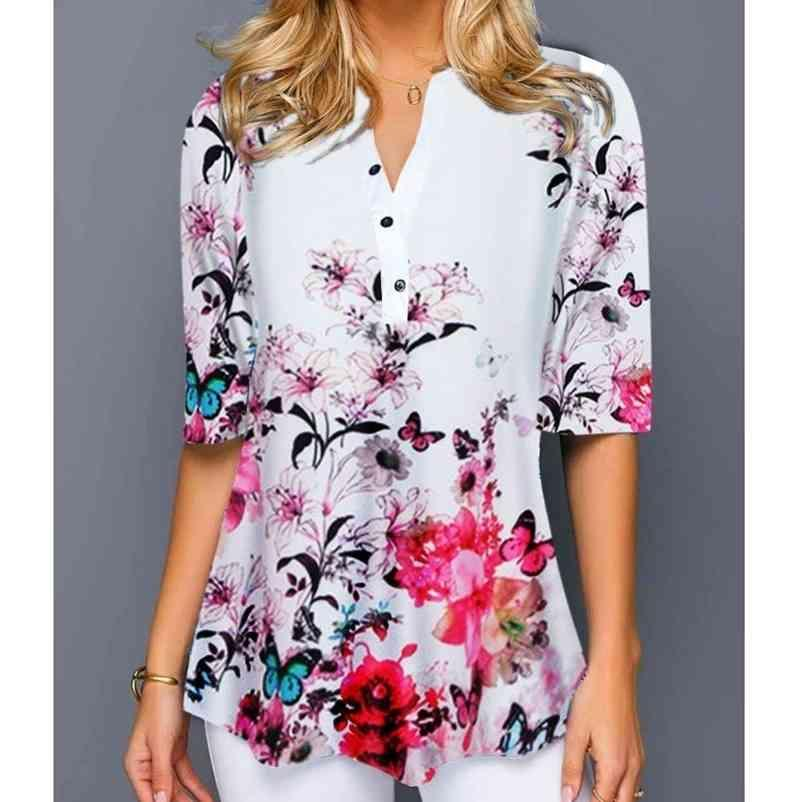 S-5XL Camiseta Mulheres Plus Size Meia Manga Senhoras Tshirt Cópia Floral Solta Tops Casuais Feminino Irregular Outono Roupas 210320