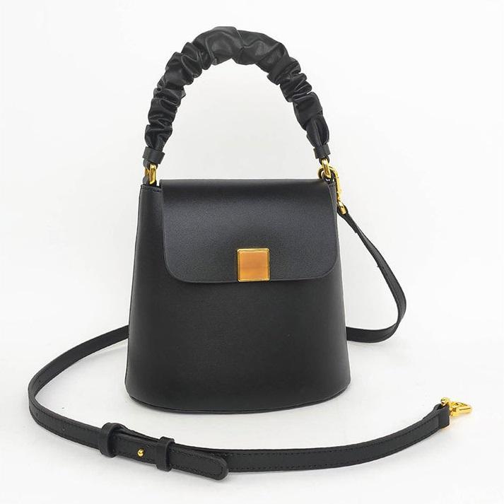 Alta Qualidade Womens Bolsa Moda Totes Bolsas De Couro Dobra Coreano Lazer Ao Ar Livre Mensageiro Bucket-Shaped Design Senhora Saca De Ombro Saco