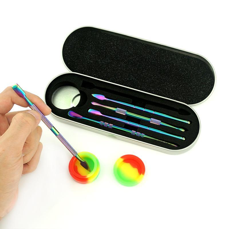 새로운 깨지지 않는 휴대용 DAB 조작 액세서리 티타늄 파이프 네일 Dabbing 조작 스테인레스 스틸 Dabber 도구 쿼츠 유리 파이프 용 세트 왁스 펜 실리콘 컨테이너