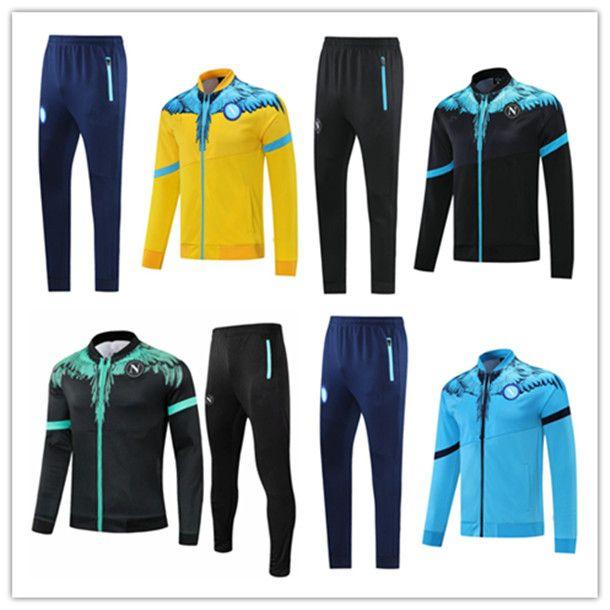 21/2022 Dres Napoli Neapol SSC Soccer Jersey Jacket Hamsik Insigne Callejon Zieliński Długi Zipper Set 20 21 Veste Suit