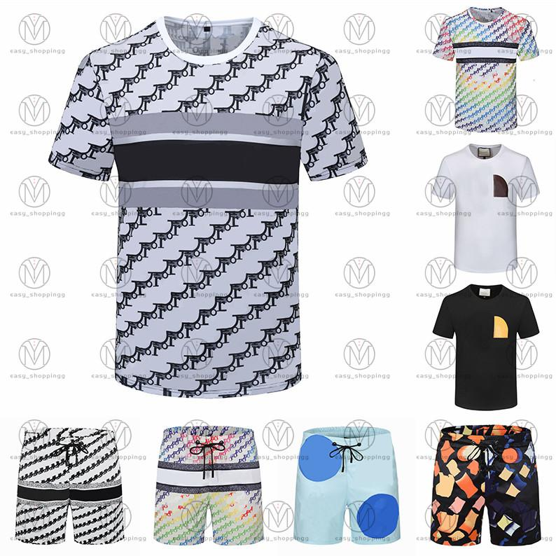 21SS Mens Beach Designers TrackSuits Summer Suits Fashion T Shirt Seaside Camicie da vacanze Pantaloncini Pantaloncini Set Man Universia Casual Abiti sportivi Abbigliamento sportivo 2021 m-3XL