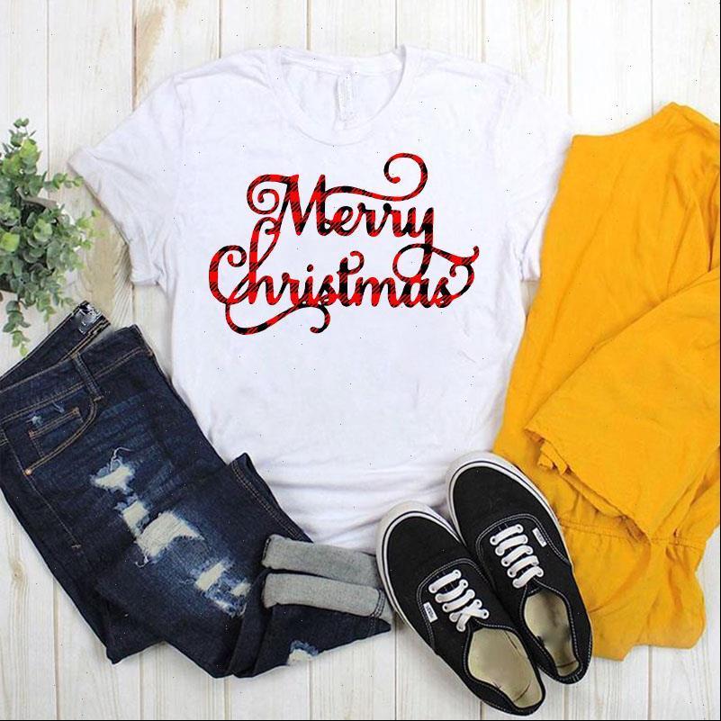 Frauen drucken t-shirts Grafik Gedruckt Buchstaben Mode Plaidbaum Frohe Weihnachten Damen Top Tshirt Weibliche Womens T-Shirt