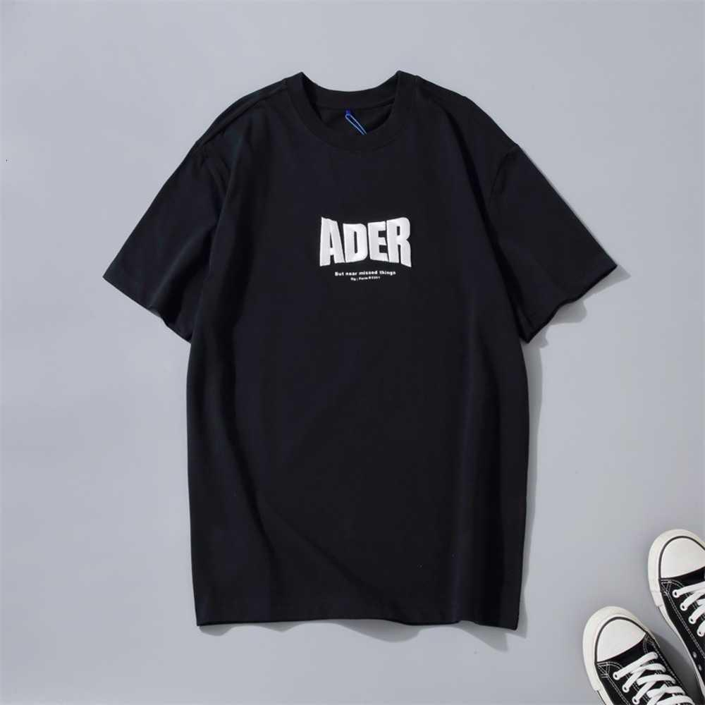 Высококачественная футболка Ader Fashion Brand Big Beglish трехмерная вышивка базовая рубашка хлопчатобумажная мужская и женская короткая рукава