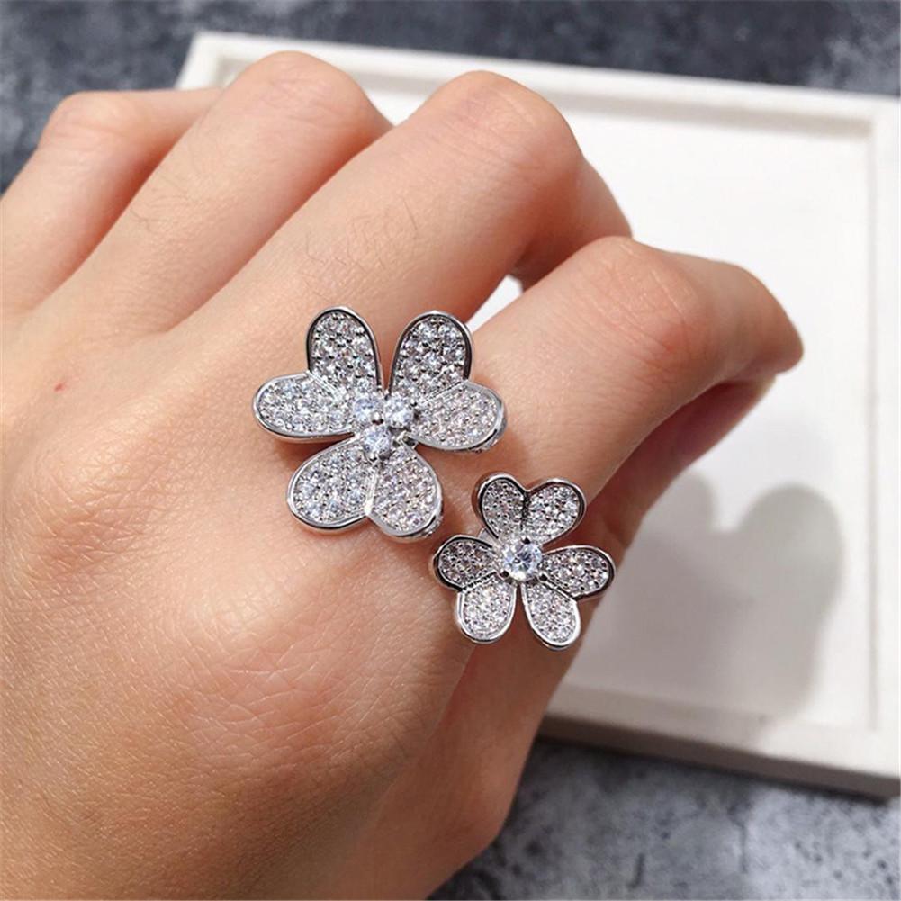 Fashion Classic Lucky 4 / Four Leaf Clover 3 Flowers Anelli a fascia aperta con diamanti S925 Silver 18k Gold per Womengirls Valentine's Day Festa della mamma Regalo gioielli di fidanzamento