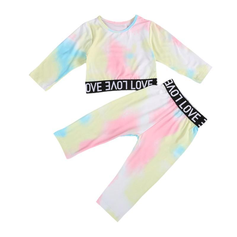 Clothing Sets Imcute Toddler Baby Girl Fall Clothes Outfits Tie-dye Print Long Sleeve Tops Romper Pants Suit 2PCS Pajamas Set