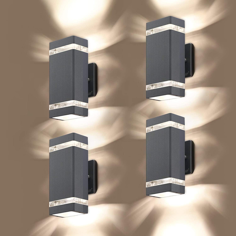 LED 야외 벽 램프 사각형 상단 및 하단 조명 알루미늄 몸 IP65 방수 AC110-240V 야외 벽 빛 경로 안뜰 정원 거리 장식 램프