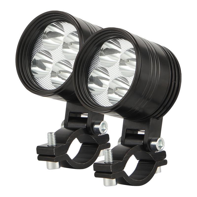 Lumière de travail AU04 - Feux de brouillard de moto pour tous les vélos de montagne, VTT, motocyclettes LED lampe de conduite, 4 perles de lampe