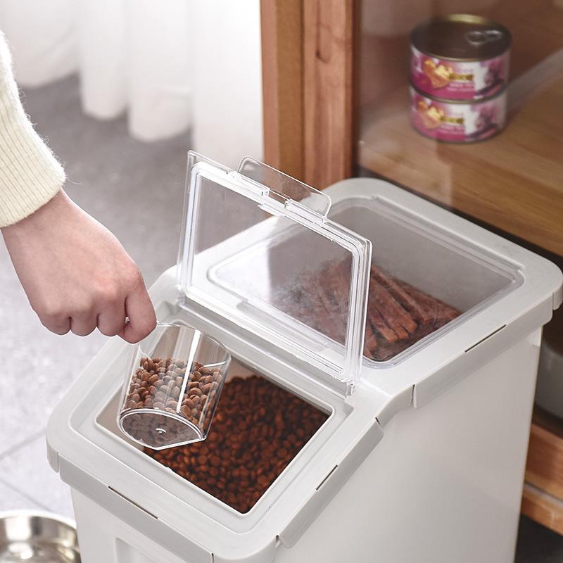Con caja de perro Ruedas para mascotas Pequeño plástico Sellado Barril Insecto y alimentación a prueba de humedad 6kg