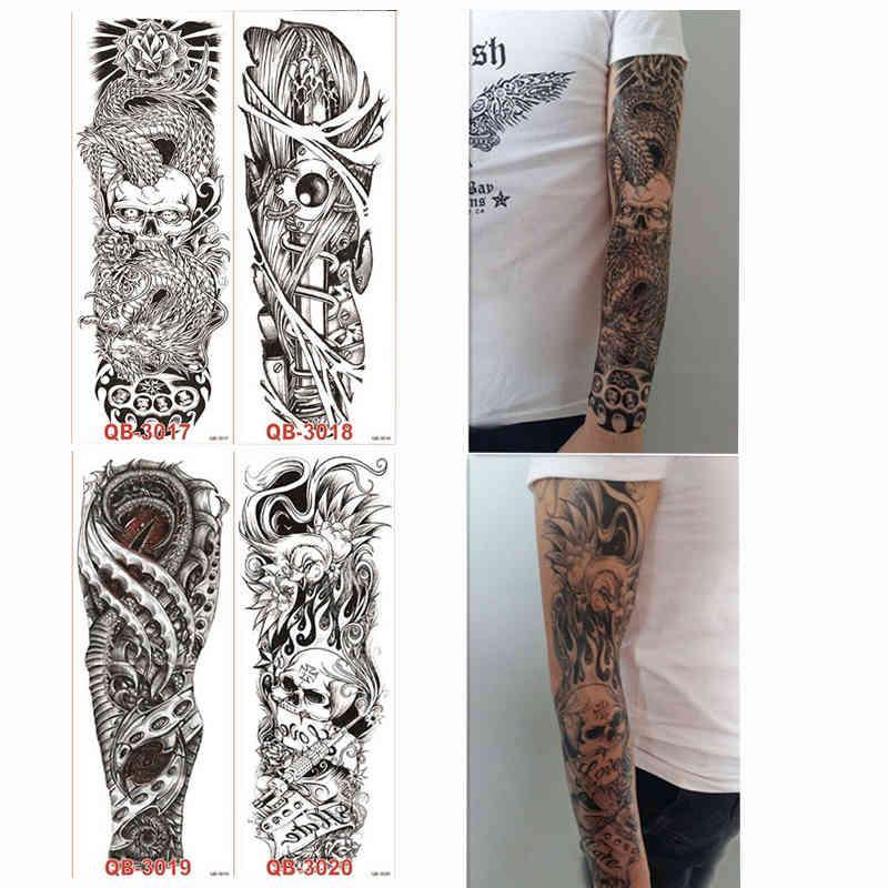 4 pièces Temps temporaire Big Tattoo Sticker Sticker Skull Rose Fleur Design pour Femmes Men Men DIY Body Art Tool Toute Tatouage Décalque
