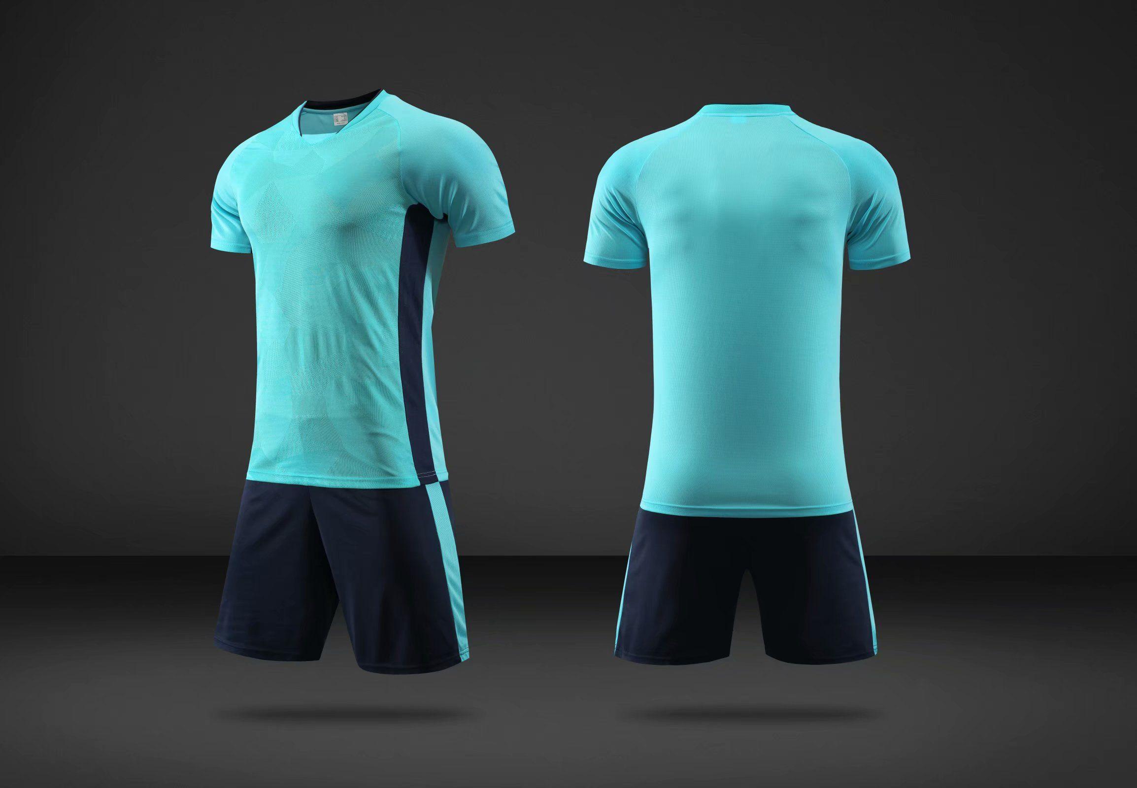 2 Farben Orange Blue Custom Leere Fussball Jersey Uniform personalisierte Team-Shirts mit Shorts-gedrucktem Design Name und Nummer für Männer / Kinder / Jugend 070117-2