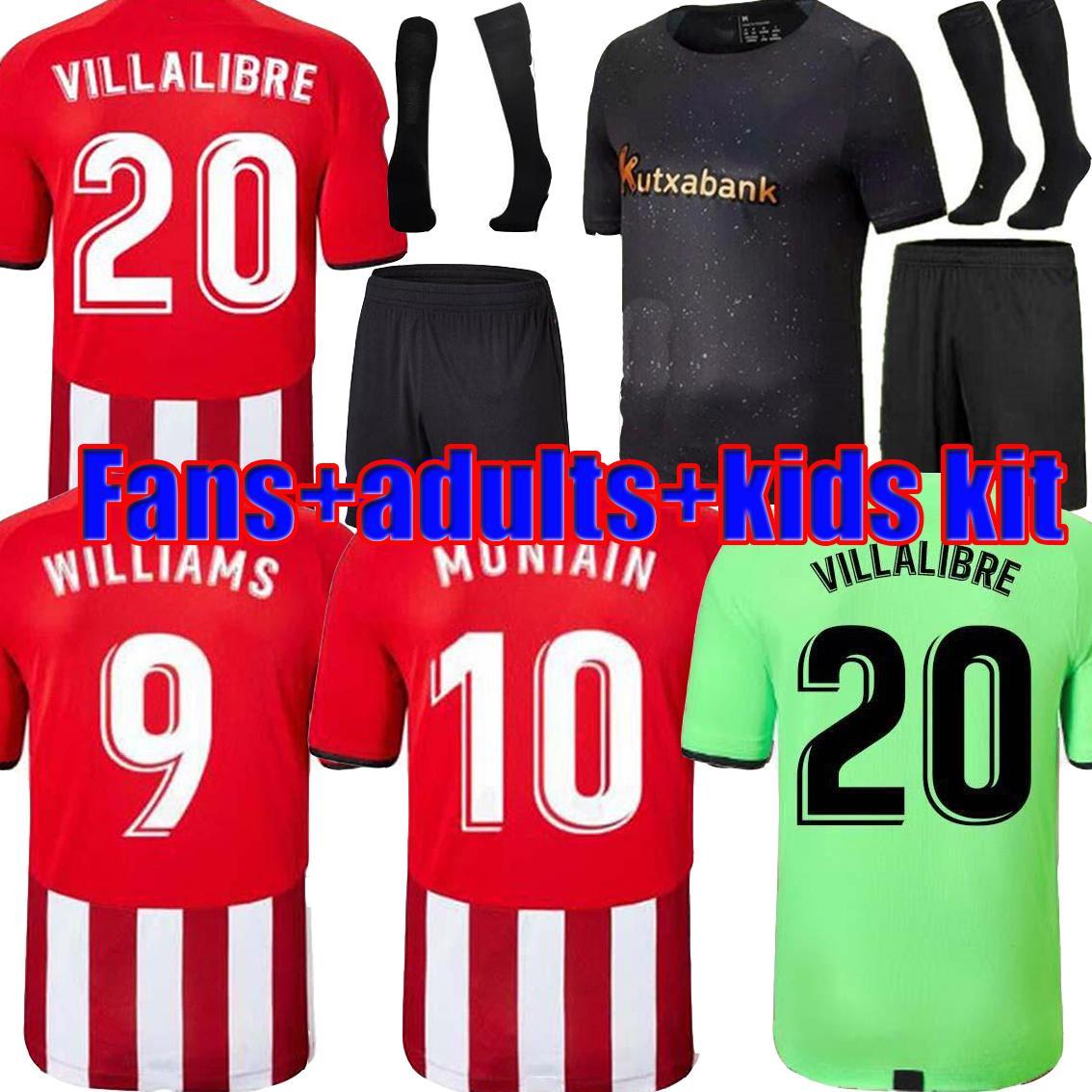 Athletic 21/22 Bilbao Williams Accueil Jerseys de football I.Martinez Raul Garcia Jersey de football Yuri B. Muniaiin Yeray Shirts Kit pour enfants adulte Camiseta de Leones