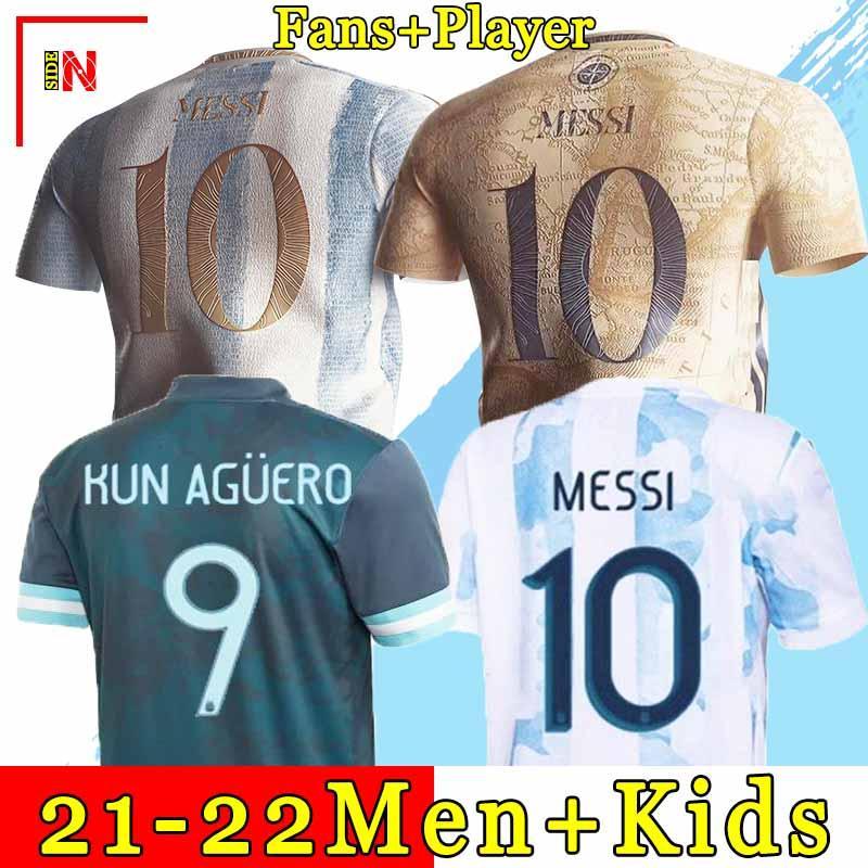 Argentina futebol Jersey Torcedores e jogador versão 2021 Copa america MESSI DYBALA AGUERO Camiseta de futebol masculino + infantil conjuntos uniformes 20 21