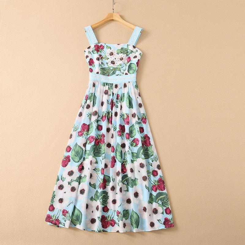 봄 2021 콘돔 벨트 블루 스테이플 다이아몬드 플라워 프린트 패션 주름진 드레스에 대 한 유럽 및 미국 여성의 착용