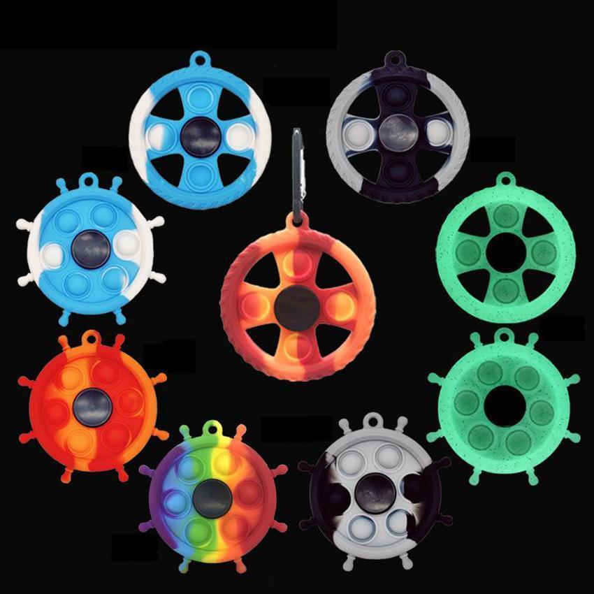 재고 빛나는 다채로운 러더 모양의 Fidget 장난감 파티 호의 팁 손가락 장난감에 실리콘 푸시 거품 감각 장난감 카라비너