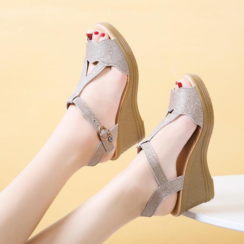 Moda Yabani Kalın Alt Muffin Seksi Kama ile Balık Ağız Sandalet Kadınlar Elbise Ayakkabı